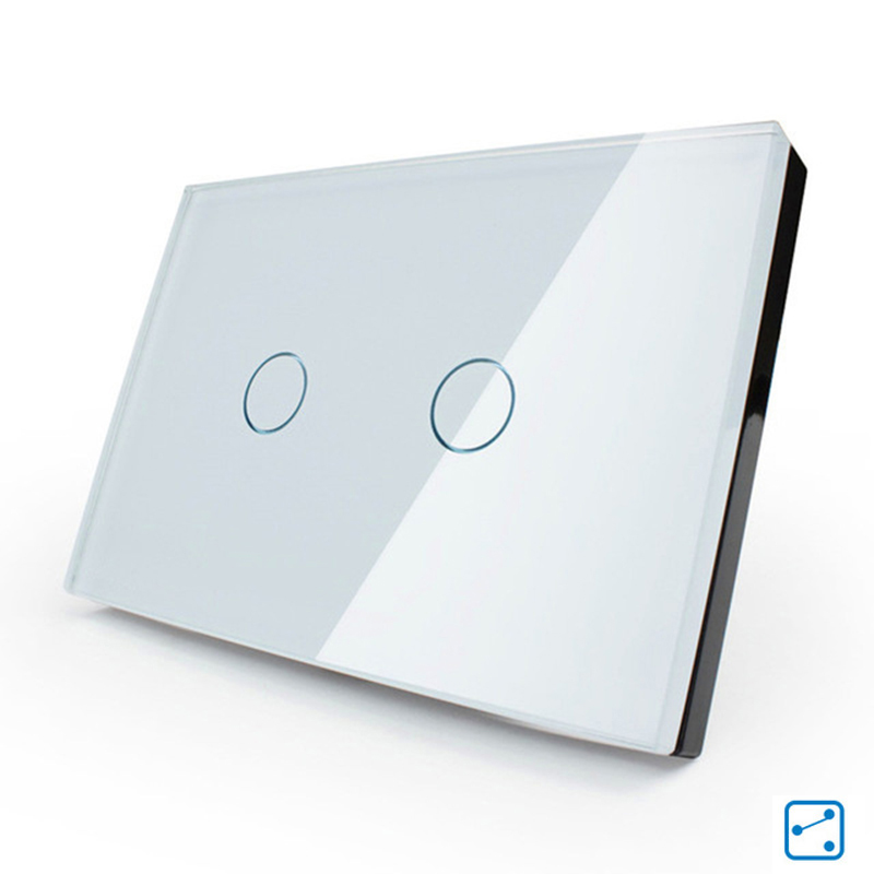 Cnskou  US Standard 110-250V Touch Switch White/Black Crystal Glass Panel 2 Gang 2 Way Touch Light Switch Smart Home<br>