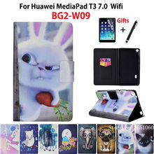 Case for Huawei MediaPad T3 7.0 BG2-W09 Cover Funda Fashion Animal Silicone PU Leather Skin for Honor Play Pad 2 7.0 +Film+Pen(China)