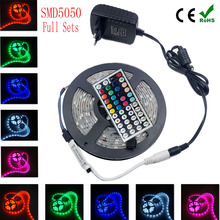 RGB Led Strip Light SMD5050 RGB Flexible DC12V Stripe Diode Tape 5M 10M 15M 30led/M With 44Key Remote Controller  Power Supply