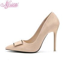2018 Pointed Toe High Heels Wedding Shoes For Brides Brand Designer Fashion Sexy Evening High Heels Women Stilettos Nysiani(China)
