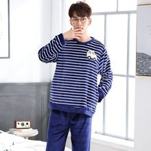 Good Quality Autumn Winter Warm Pajamas Long Sleeve Thickening Flannel Man Pajamas Suit Coral Down Leisure Cartoon Home Wear(China)