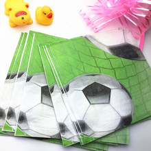 20 Pcs/pack Football Net Printed Disposable Napkins Wedding Theme Party Restaurant Tissue Paper Birthday Dining-table Decoration(China)