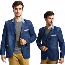 2016 Autumn Men's Slim Fit Blue Patchwork Denim Jacket , Man Casual Suit Collar Single Breasted Outerwear , Formal Jean Blazers