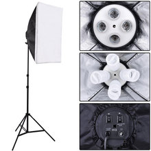 Photo Studio Kit Photography Lighting 4 Socket Lamp Holder + 50*70CM Softbox +2m Light Stand Photo Soft Box VL-9004
