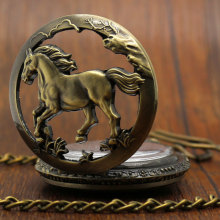 Pocket Watch Relogio De Bolso Bronze Horse Hollow Quartz Pocket Watch Necklace Pendant Womens Men GIfts  P907C