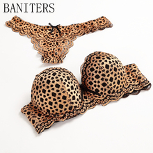 BANITERS 2017 hot sexy leopard bra set, lace embroidery lingerie Fashion Push up bra Noble elegant woman underwear suits thong