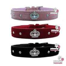 Dog Pet Collar Pet Product Bling Rhinestones Crystal Crown Charm Collar Dog Collar Velvet Leather 3 Colors 1pcs/lot