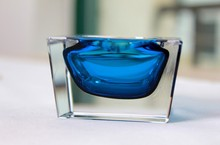 Hand blown crystal glass ashtray Double cased KTV Mini Hotel Restaurant Glass Ashtray box packing(China)