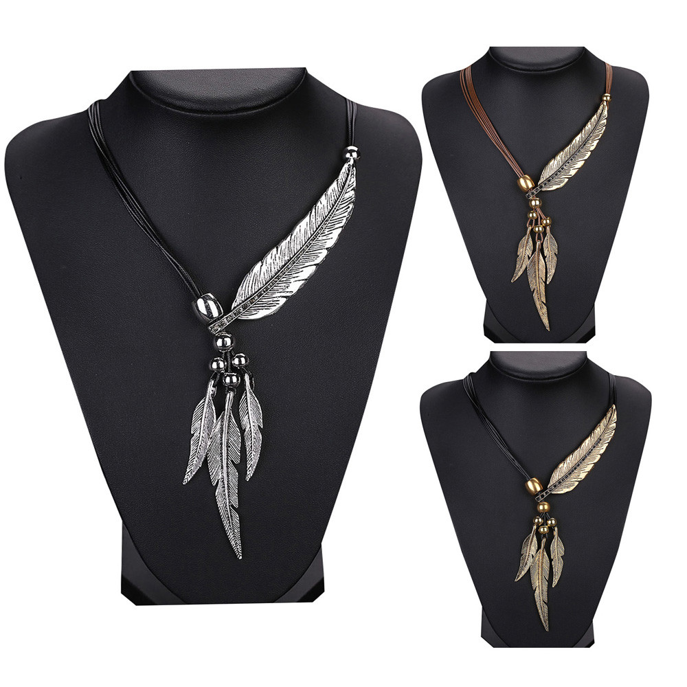 women girl Alloy Feather Antique Vintage Time Necklace Sweater Chain Pendant Jewelry 29#1809212510 (China)