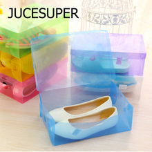 DIY Translucent Storage Shoebox Candy Color Plastic Storage Box Simple Storage Kinds Of Colors 27.5*18*9.5cm High Quality Plast(China)