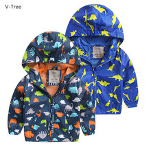 V-TREE Boys Hooded Coats Spring Baby Boy Cartoon Dinosaur Jackets Children Casual Windbreakers Todder Kids Outerwears Cloth