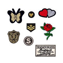 Double Heart Flower Butterfly Patches Iron On Or Sew Fabric Sticker For Clothes Badge Embroidered Appliques DIY