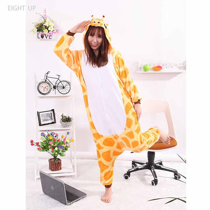 Жираф животных комбинезоны пижамы мультфильм взрослых фланель Кигуруми  косплэй для женщин s для мужчин детей 08fd0491ba9f2