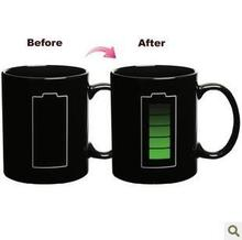 Battery Discoloration Mug Battery Temperature Mug Creative Battery Charging Change Colour Mug(China)