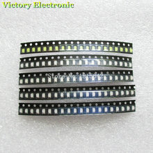 100PCS/LOT 1206 SMD White Red Blue Green Yellow 20pcs each Super Bright 1206 SMD LED Diodes Package Kit