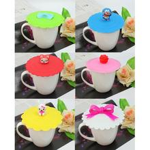 2x 11cm Coffee Mug Suction Lid Cap Silicone Glass Cup Cover Cartoon Sealed Anti Dust  Seal Lid Cartoon Kawaii Home Accessories
