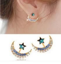 New Fashion accessories crystal rhinestone moon star stud  earring  gift for women girl Wholesale E3274