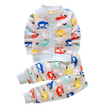 BibiCola baby autumn winter clothes sets cute Cardigan for boys girls kids warm suit Jacket+pants 2pcs knits children sweaters