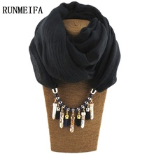 [RUNMEIFA] Charms Shawl Pendant Necklace Scarves Jewelry Family Style All Match Keep Warm Tourism Wear Beads Water Drop Jewelry(China)