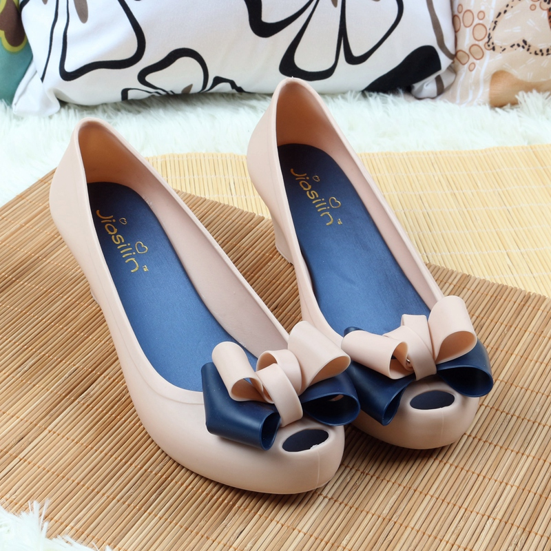 Wedges female sandals 2017 color jelly shoes bow platform open toe high-heeled shoes flats size 35- 40<br><br>Aliexpress