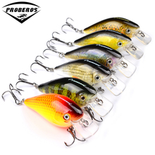 "6pc PRO BEROS Brand Fishing lure Exported to Japan 3""-7.6cm Fishing Bait 12.75g Crankbait 6 color fishing tackle 8# Hook"