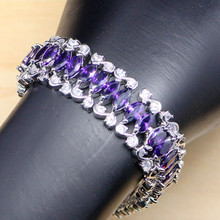 925 Sterling Silver Jewelry Mystic Purple Zircon White CZ Charm Bracelets For Women Free Gift Box(China)