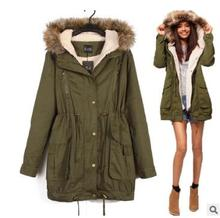 2016 New China Wholesale Cheap Winter Coats Women Jackets Fur Collar Thick Ladies 2017 Parkas for girls army green(China)