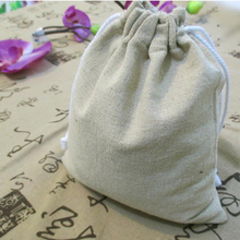 Wholesale W13.5 x H15.5cm 100% Plain Natural Linen Promotional Bag Drawstring Gift Pouch Jewelry Pouch Bag Tea Bag Free Shipping(China)