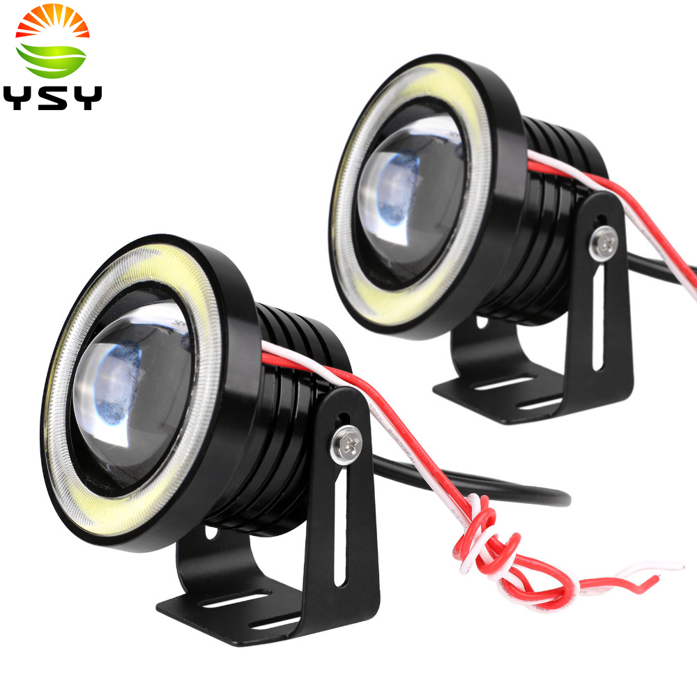 2x(1 pair) 12V 100W 64mm 2.5Inch Projector Universal Super Bright Car LED COB Fog Angel Eyes DRL Light HeadLight Lamp White Blue<br><br>Aliexpress