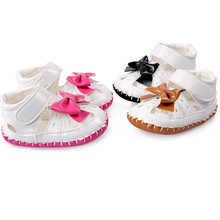 2017 Girl/Boys Baby Girls Leather Bowtie Summer Shoes Toddler First Walkers Infant Toddler PU  leather Black  Brown Hot pink