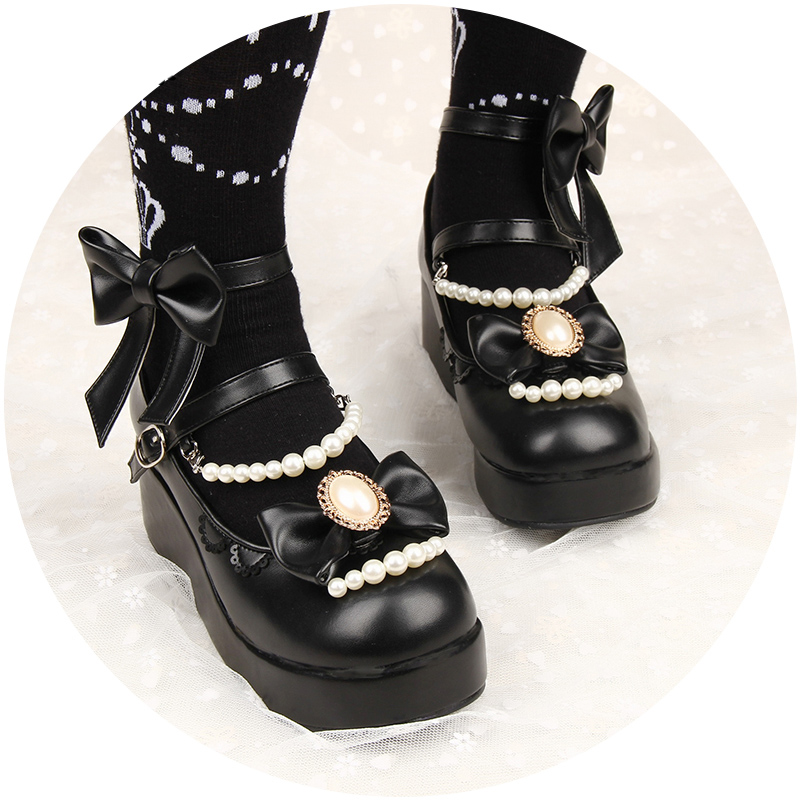 Japanese Gothic Girl Lolita Round Head Platform shoes Cute Bow Pearl Chain Princess Shoes Buckle Straps Maid Chunky Heels Shoes