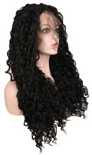 QQXCAIW Long Kinky Curly Synthetic Lace Front Wig For Women 70 Cm Artificial Hair Black Wigs With Baby Hair(China)