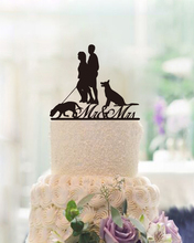 Modern Design Wedding Decoration Cake Topper with Two Dogs Mr & Mrs Wedding Toppers for Newlyweds Unique Custom Anniversary Gift
