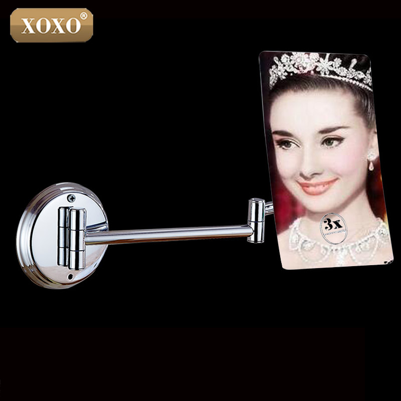 XOXO High Quality Square Float Mirror Mount 3X Magnifying Wall Mirror single Sided Makeup Mirror For Beautiful Lady 1028<br>