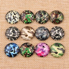 onwear Mixed Round Camouflage Print Glass Cameo Cabochons 10mm 12mm 14mm 18mm 20mm 25mm DIY Pendants Earring Findings(China)