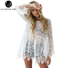 Lily Rosie Girl White Mesh Sexy Lace Mini Dress Women O Neck See Through Long Sleeve Summer Beach Short Dresses Vestido Sundress