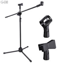 NB-107 Professional Dual Microphone Metal Stand Tripod Adjustable Double-headed Clip Microphone Holder Telescopic Boom Support