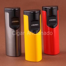 LUBINSKI Reusable New Design Windproof Turbo Lighter Electronic Touch Laser Induction 3 Torch Jet Flame Cigarette Cigar Lighter(China)