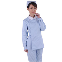 Women Natural Uniforms Medical Hospital Nursing Scrub Set Top & Pants Solid Color white collar Medical Hospital Clinic Nursing(China)