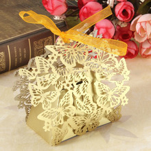 Butterfly Candy Box Hollow Paper Carving Candy Box European Style Chocolate Carton Romantic Wedding Decoration(50pcs/Lot)5ZSH115(China)