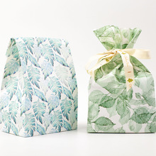 12 sets 4 color paper bag Greens Leeves theme wedding birthday gift packaging party candy holding