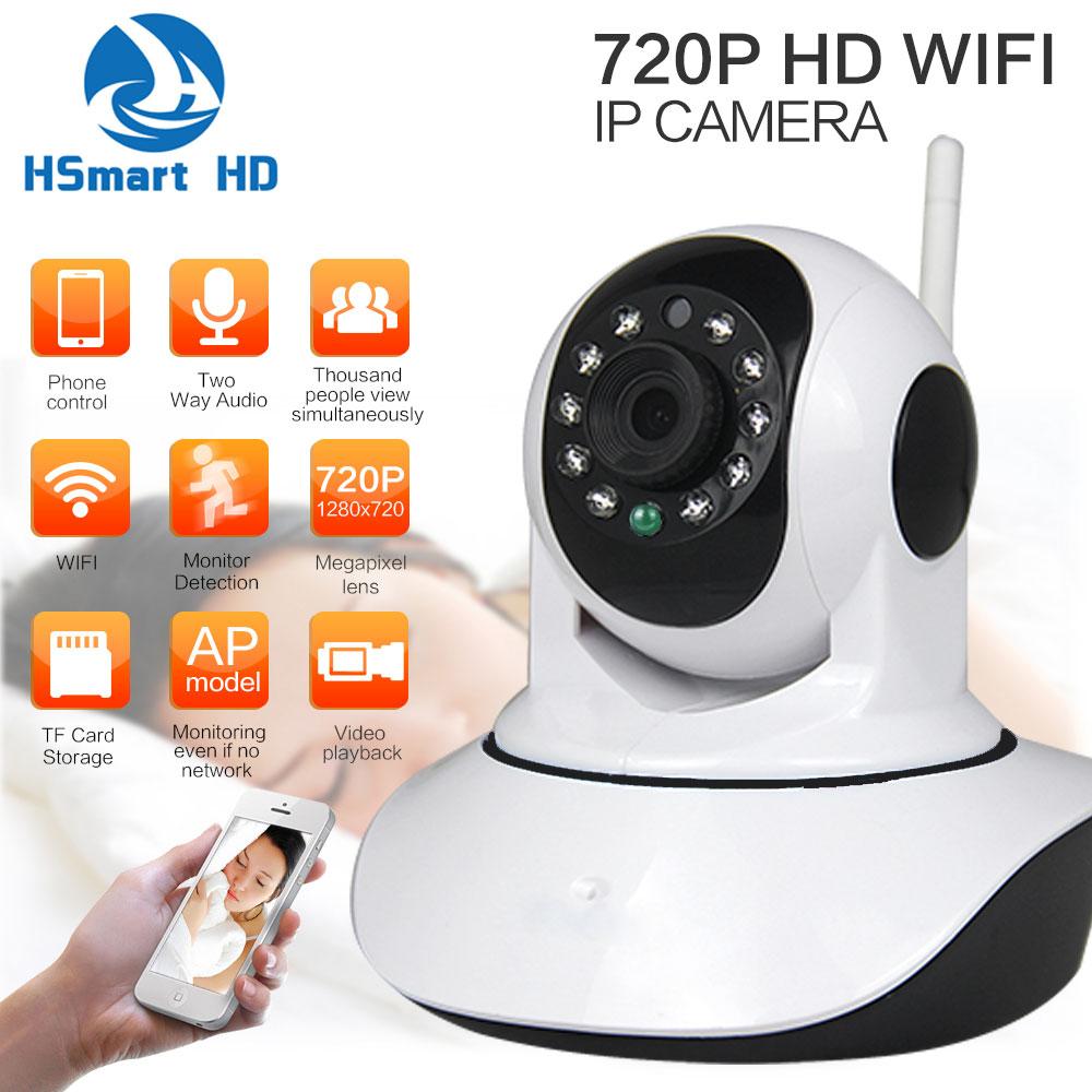HSmart HD 720P Wireless WiFi P/T IP Camera Baby Monitor Wi-fi Onvif IR-Cut IR SD Card Record Audio Video Surveillance P2P Camera<br><br>Aliexpress