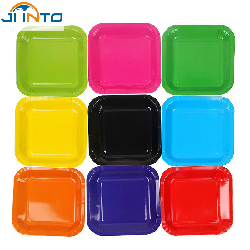 Candy color Diy creative Colored paper plates 7 inch disposable Rectangular plate Wedding Birthday Festival Party supplies(China (Mainland))