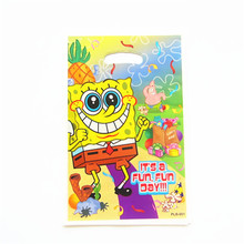 10pcs\lot Sponge Bob Theme Party Gift Bag Party Decoration Plastic Candy Bag Loot Bag For Kids Birthday/Festival Party Supplies(China)