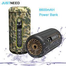 JUSTNEED Waterproof Outdoor Wireless Bluetooth Bike Speaker 6600mAh Power bank Super Bass Portable Subwoofer Speaker Mp3 player(China)