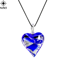 KINS Special Offer Black Rope Personality Love Heart Fill Blue Pattern Coloured Glaze Pendant Necklaces For Women Jewelry A00399