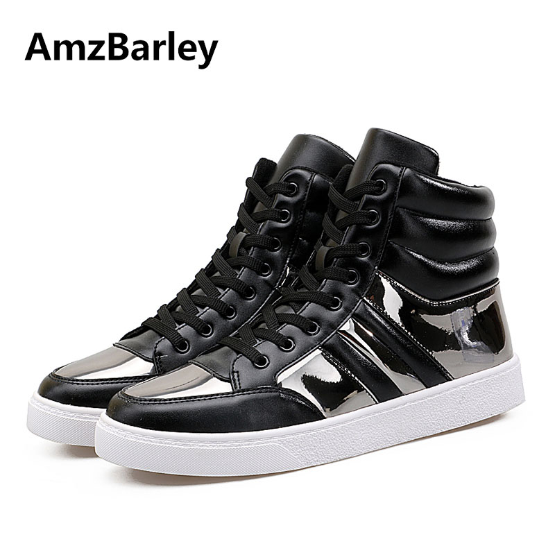 AmzBarley Mens Shoes Flats High Top Lace Up Patchwork Casual Men Footwear Gold Hip Hop Tenis New Brand Masculino Adulto<br>