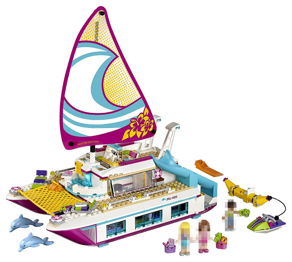LEPIN 01038 Friends Sunshine Catamaran Building Blocks Compatible 41317 Toys Classic Girl Kids Model Toys<br>