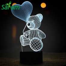 Lovely Heart Bear 3D Kids Night Light with Lamparas Infantiles Soft Light Helps To Sleep with Desk Lamp for Bed Modern Usb Touch(China)
