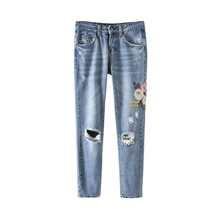 2017 Fashion Women Straight Sofener Low Waist Flower Printed Embroidery Decorated Blue Denim Pants Pencil Casual Brand Jeans